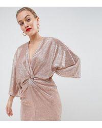 Flounce London - Wrap Front Kimono Mini Dress In Rose Gold Metallic - Lyst