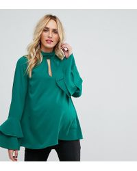 ASOS - Cut Out Neck Flared Sleeve Blouse - Lyst