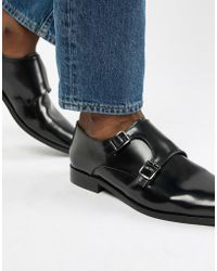 Dune - Monk Shoes In Black Hi-shine Leather - Lyst