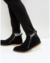 Kurt Geiger - Otis Suede Zip Boots In Black - Lyst