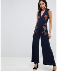 Finders Keepers - Finders Embroidered Floral Jumpsuit - Lyst