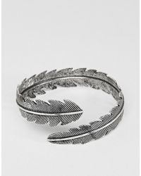 ASOS DESIGN - Feather Bangle In Burnished Silver Tone - Lyst