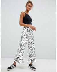 ASOS - Design Trousers With Fluted Ruffle Hem In Spot Print - Lyst