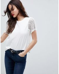 ASOS - Design T-shirt With Pretty Dobby Sleeve - Lyst