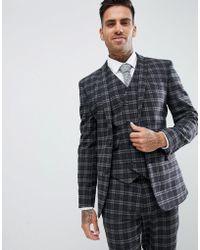 ASOS - Super Skinny Suit Jacket In Tonal Grey Check - Lyst