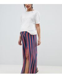 ASOS - Asos Design Maternity Wide Leg Trousers With Split Front In Aztec Stripe Print - Lyst
