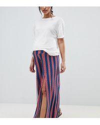 ASOS - Asos Design Maternity Wide Leg Trousers With Split Front In Aztec Stripe Print - Lyst