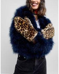 Pieces - Faux Fur Leopard Mittens - Lyst