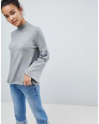 Fashion Union | High Neck Jumper With Bell Sleeves | Lyst