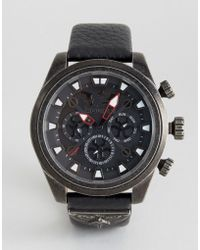Police - Mephisto Black Leather Watch - Lyst