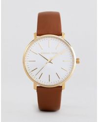 Michael Kors - Mk2740 Pyper Leather Watch In Tan 38mm - Lyst