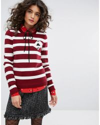 Sonia by Sonia Rykiel - Striped Cards Detail Knit Sweater - Lyst