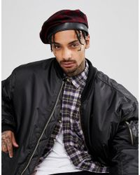 ASOS - Beret In Black & Red Check - Lyst