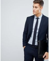 Farah | Skinny Suit Jacket In Navy | Lyst