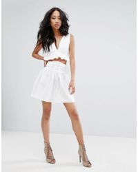 PrettyLittleThing - Corsetted Floaty Skirt - Lyst