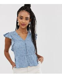 New Look - Button Through Blouse In Blue Ditsy Print - Lyst