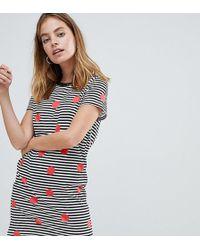 Noisy May Petite - Spot And Stripe Print T-shirt Dress - Lyst