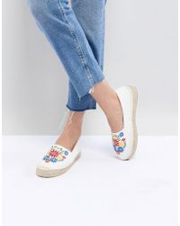 South Beach - White Espadrilles With Floral Embroidery - Lyst