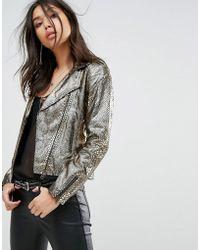 Bolongaro Trevor - White Gold Biker Leather Jacket - Lyst