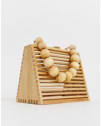 ASOS - Triangular Bamboo Beaded Handled Bag With Detachable Cross Body Strap - Lyst