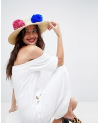 2effab9544a Lyst - ASOS Asos Straw Embroidered Floppy Hat With Size Adjuster in ...