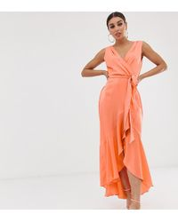 Flounce London - Wrap Front Midaxi Dress In Tangerine - Lyst