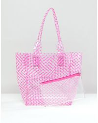 Chateau - Fuschia Striped Jelly Tote With Wristlet Clutch - Lyst