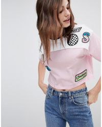 ASOS - T-shirt In Colour Block With Retro Badges - Lyst