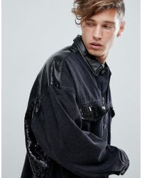 ASOS DESIGN - Oversized Denim Jacket With Vinyl And Sequin Panels In Black - Lyst