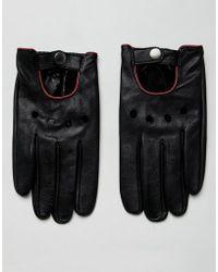 ASOS - Gants de conduite en cuir avec liser rouge - Lyst