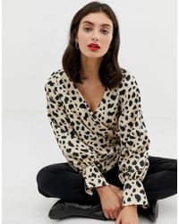 ASOS - V Neck Long Sleeve Top With Drape Front And Cuffs In Pebble Print - Lyst