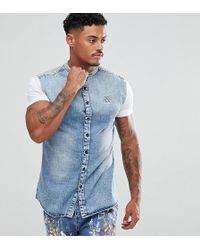 SIKSILK - Muscle Denim Shirt In Blue With Jersey Sleeves - Lyst