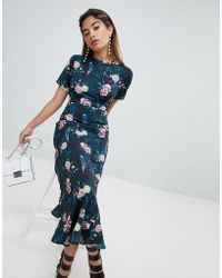 Fashion Union - Maxi Tea Dress With Tie Open Back In Romantic Floral - Lyst