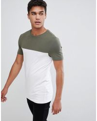 0dc82ecc56497b ASOS Tall Muscle Fit T-shirt With Contrast Yoke In White in White ...