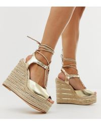 River Island - Heeled Wedge Shoes With Ankle Ties In Gold - Lyst