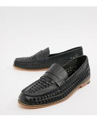 Frank Wright - Wide Fit Woven Loafers In Navy Leather - Lyst