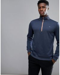 Calvin Klein - Half Zip Sweat With Logo In Navy Ckma17056 - Lyst