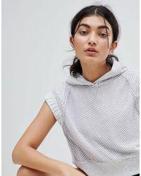 Bershka - Cropped Hooded Sweat In Gray - Lyst