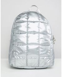 ASOS - Design Quilted Metallic Backpack - Lyst
