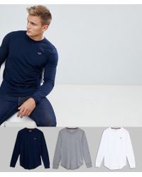 Hollister - 3 Pack Seagull Logo Long Sleeve Top In White/navy & Grey Marl - Lyst