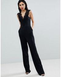 French Connection - Lace Detail Jumpsuit - Lyst