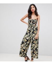 ASOS - Asos Design Tall Bandeau Jumpsuit With Cut Out And Drape Detail In Print - Lyst
