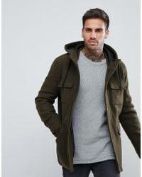 Bershka - Wool Jacket With Hood And Double Pocket In Khaki - Lyst