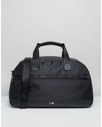 Armani Jeans - All Over Logo Carryall In Black - Lyst