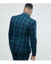 ASOS - Plus Super Skinny Suit Jacket In Blackwatch Tartan - Lyst