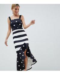 True Violet - Hi-low Frill Midi Dress In Monochrome Print Mash Up - Lyst