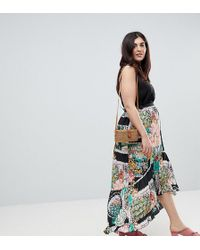 ASOS - Maxi Skirt With High Low Hem In Postcard Print - Lyst