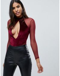 Missguided - Plunge Cut Out Velvet And Mesh Body In Burgundy - Lyst 9c180a150