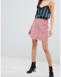 New Look - Button Through Cord Mini Skirt - Lyst