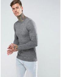 ASOS - Muscle Fit Longline Sweater With Side Zips In Gray Twist - Lyst